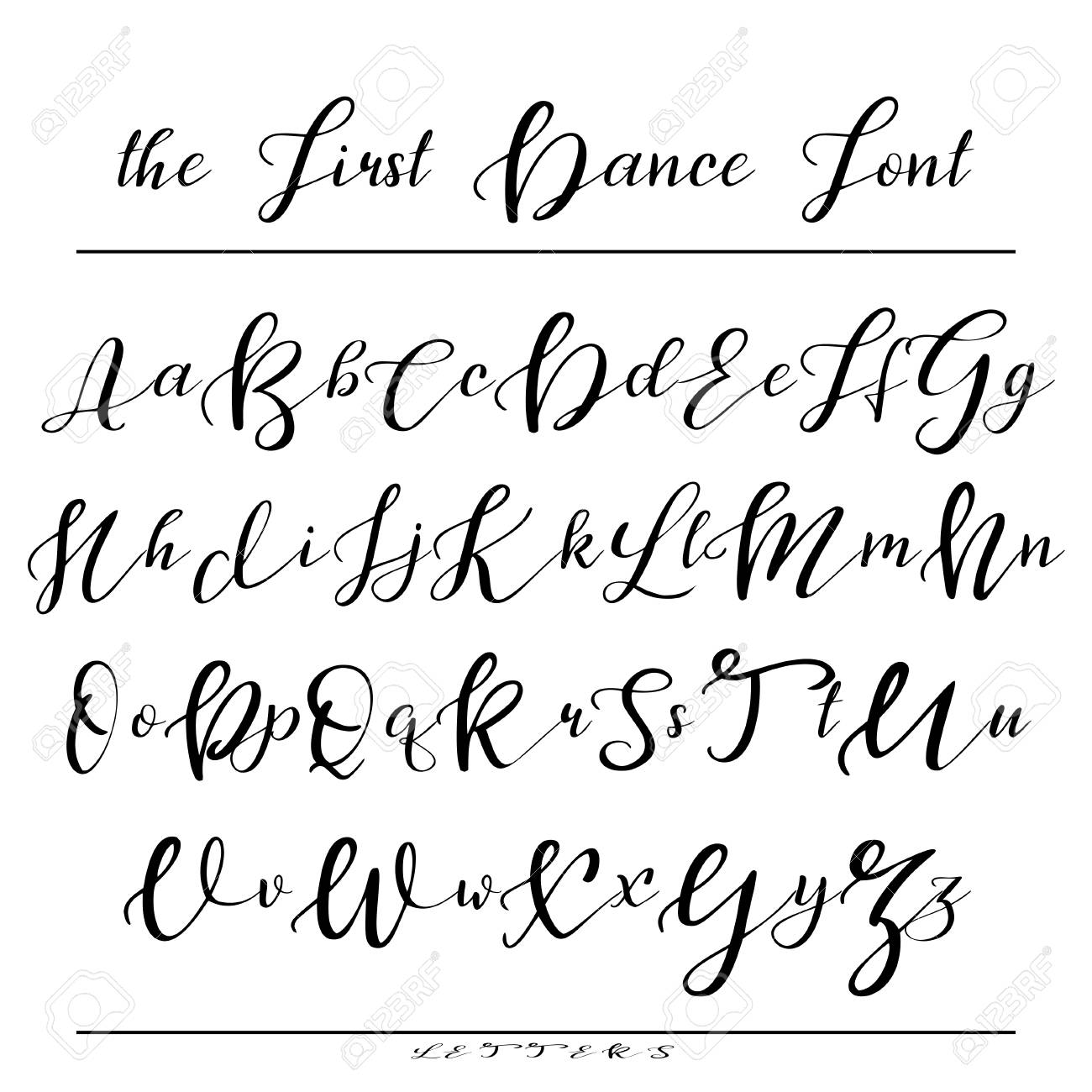 Calligraphy Fonts W Handwritten Calligraphy Font Vector Alphabet Hand Drawn Letters
