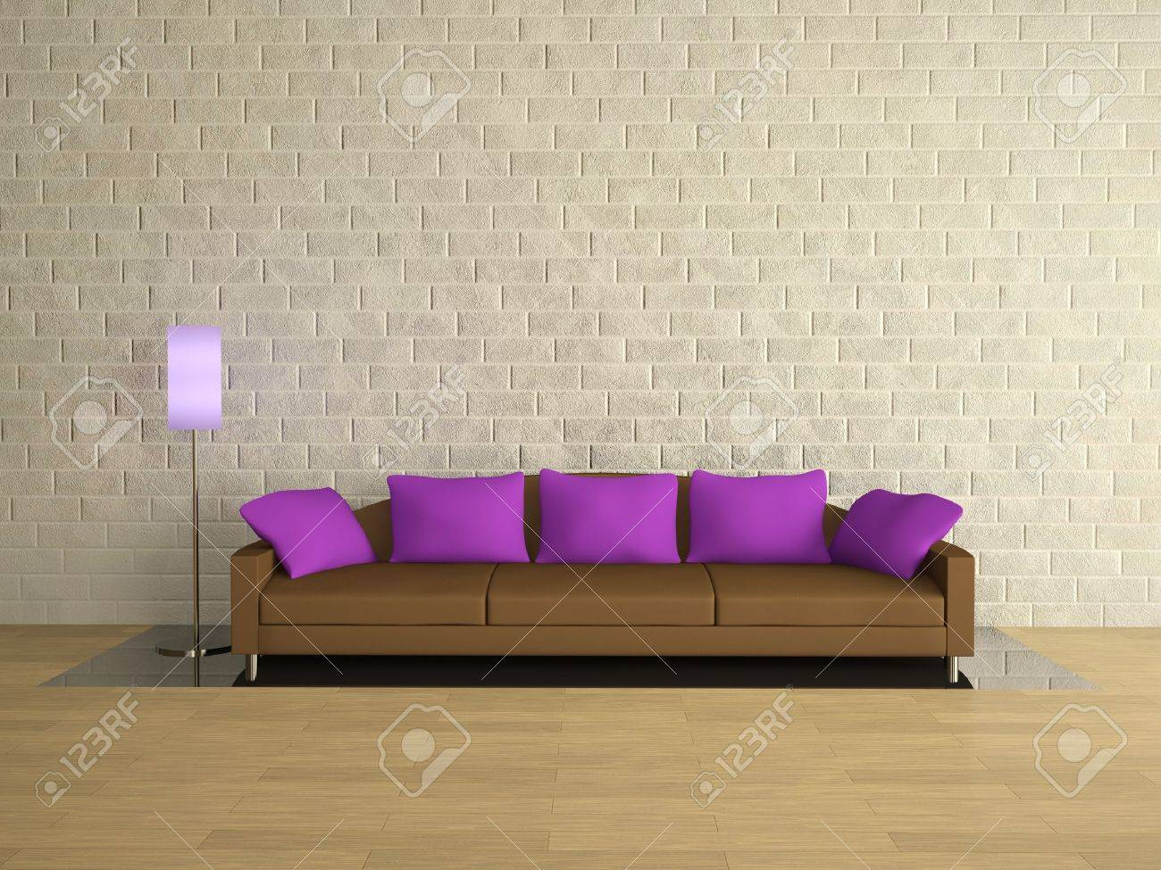 Couch Lila Brown Sofa With Lilac Pillows Near A Brick Wall Stock Photo, Picture And Royalty Free Image. Image 12910988.