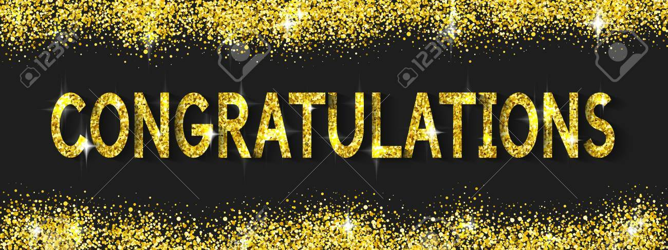 Congratulations Cards With Glittering Gold Text Shine Design