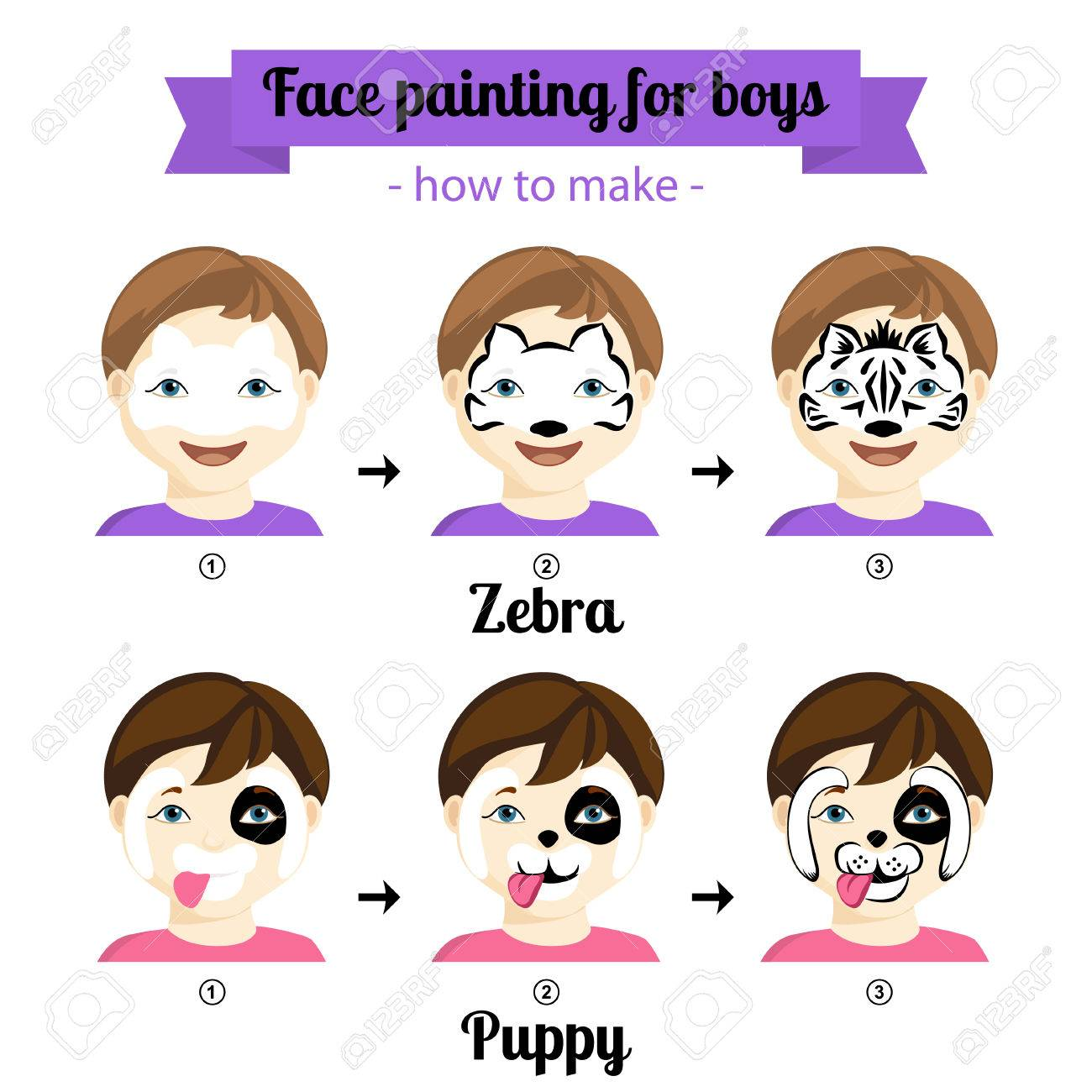 Schminkvorlage Zebra Kids Face Painting Icons How To Make Zebra And Puppy Painting