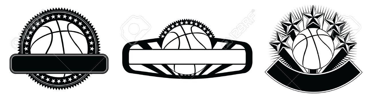 Basketball Design Emblem Templates Is An Illustration Of Three - black and white basketball template