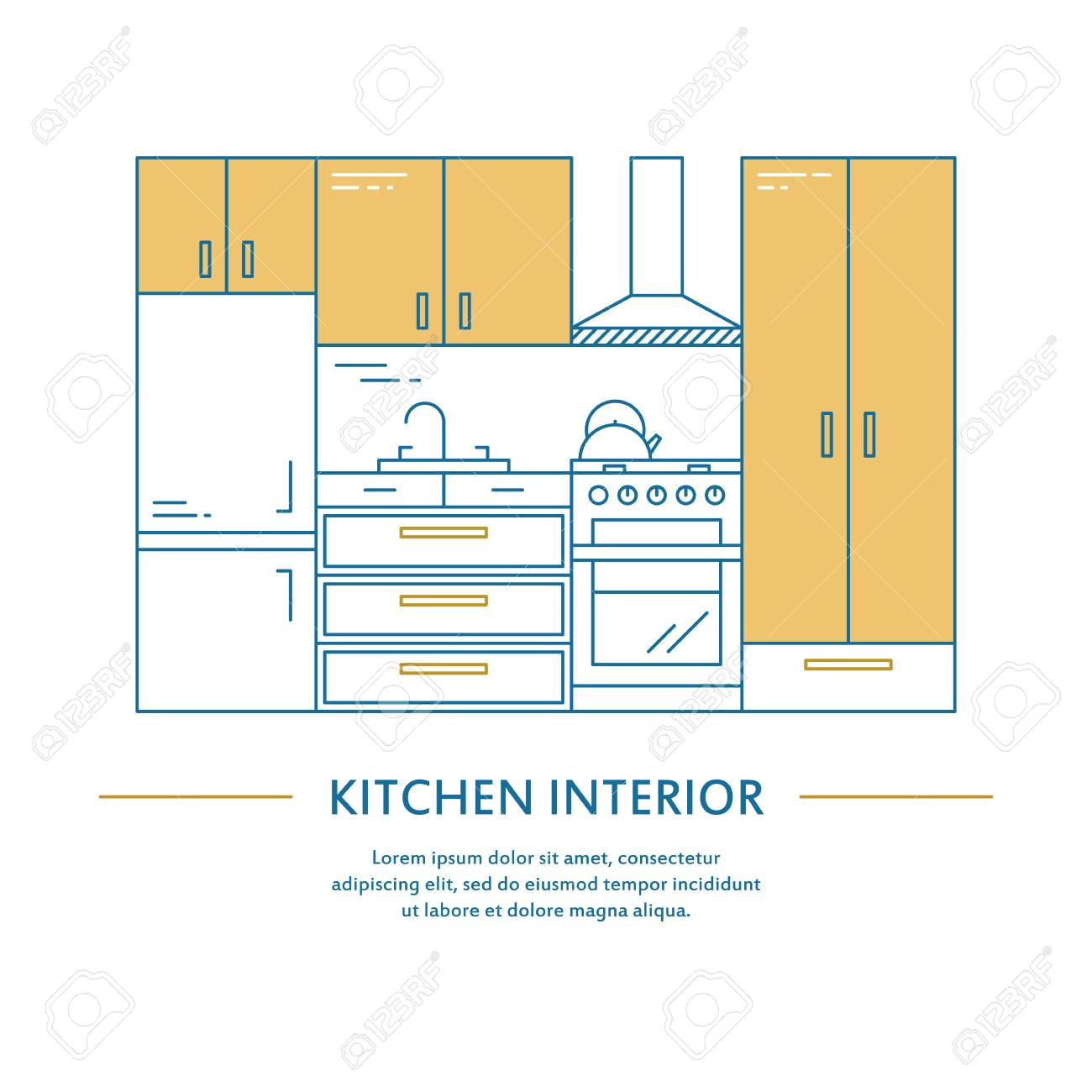 Interior Decoration Business Plan Vector Kitchen Interior Design Brochure Cover In Line Style