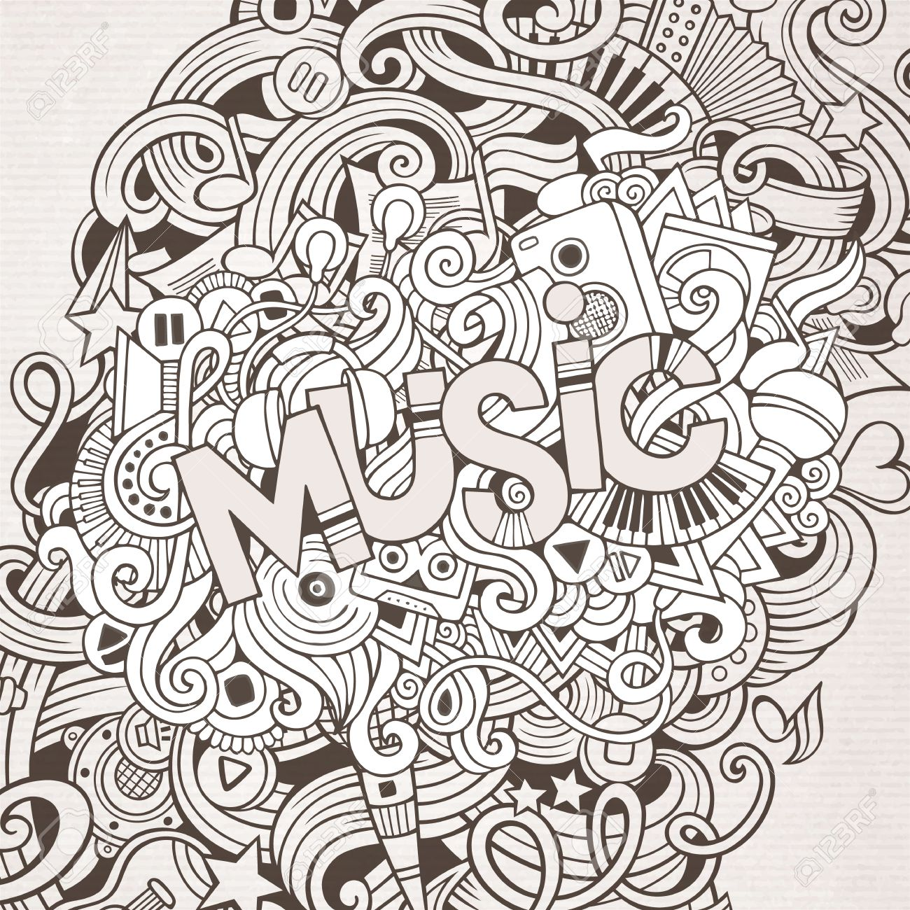 Music hand lettering and doodles elements background stock vector 48484327