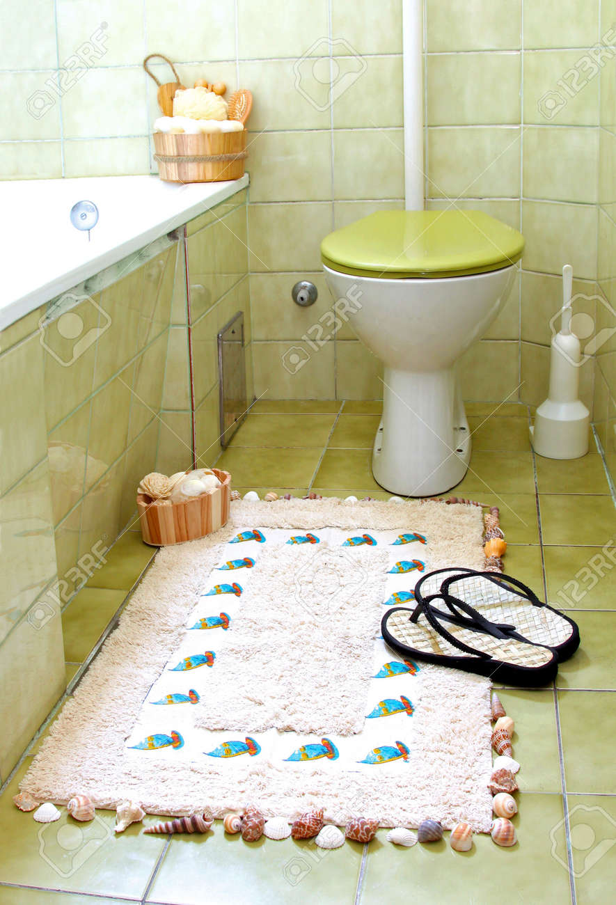 Small Retro Bathroom With Green Tiles Stock Photo Picture And Royalty Free Image Image 7505253