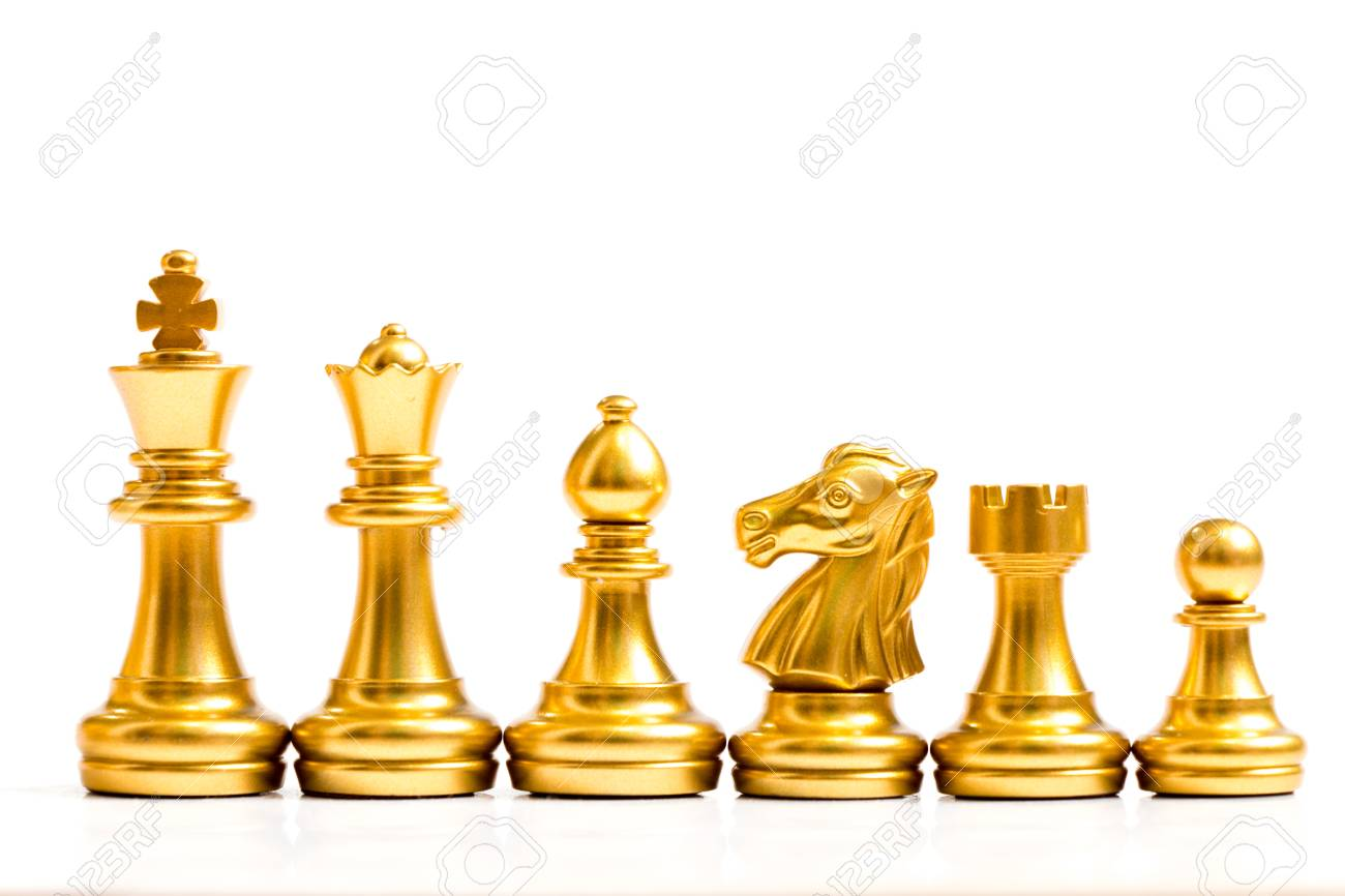 Gold Chess Pieces Gold Chess Piece Stand In A Row King Queen Bishop Knight