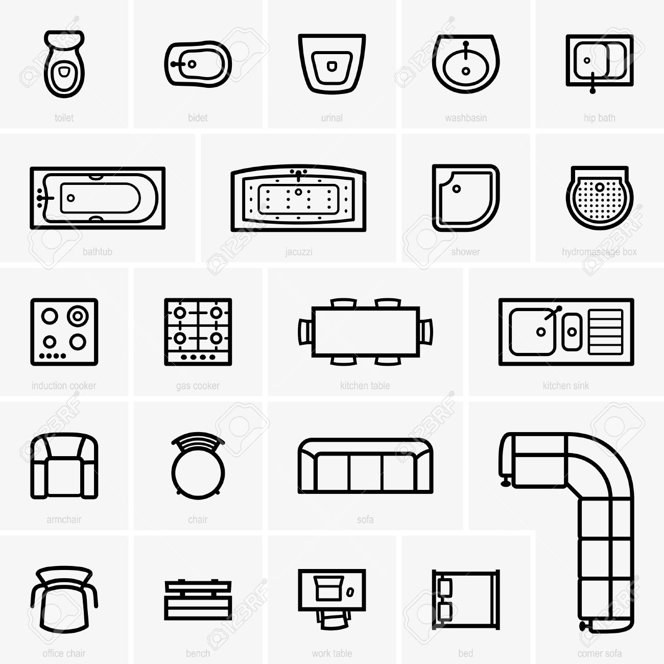 Sofa Set Vector Png Top View Furniture Icons