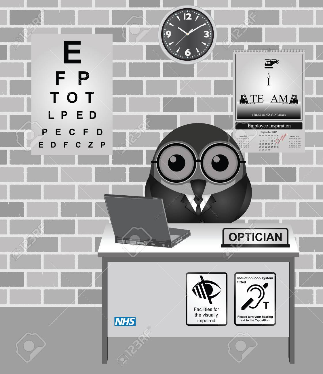Test Optiker 2015 Comical Bird Optician Consulting Room With Eye Test Chart