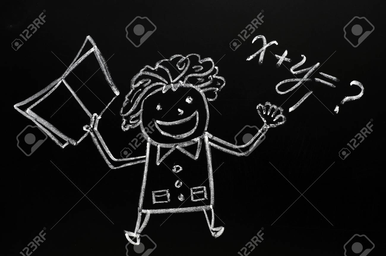 Teaching Maths Teacher Figure Drawn With Chalk On Blackboard Teaching Maths