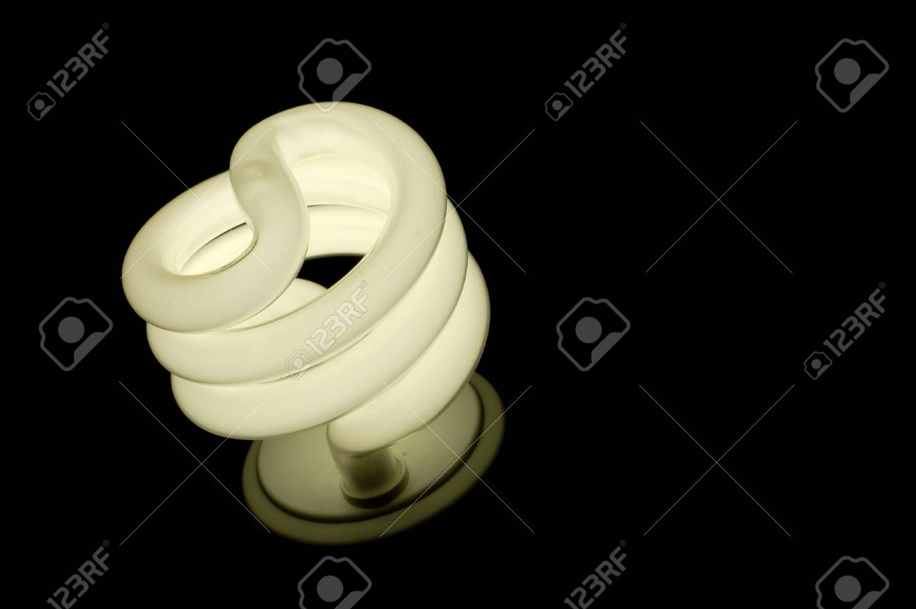 Lightbulb Lights A Compact Fluorescent Lightbulb Lights Up In The Dark