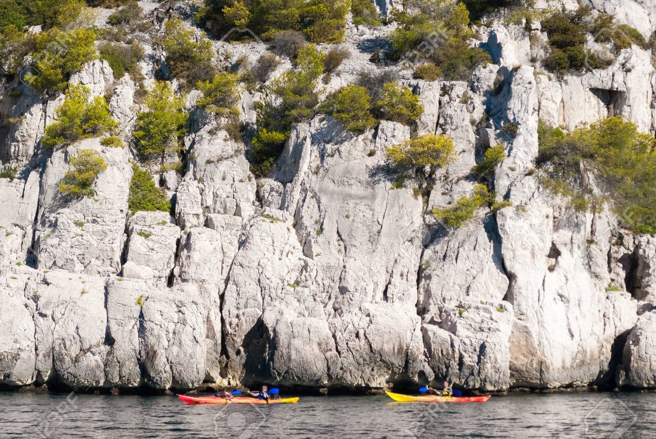 Location Canoe Cassis Two Kayaks In Front Of The Steep Cliffs In The Calanques Of Cassis
