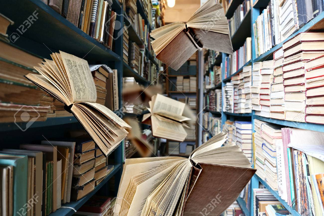 Bücherregale Für Bibliotheken Stock Photo