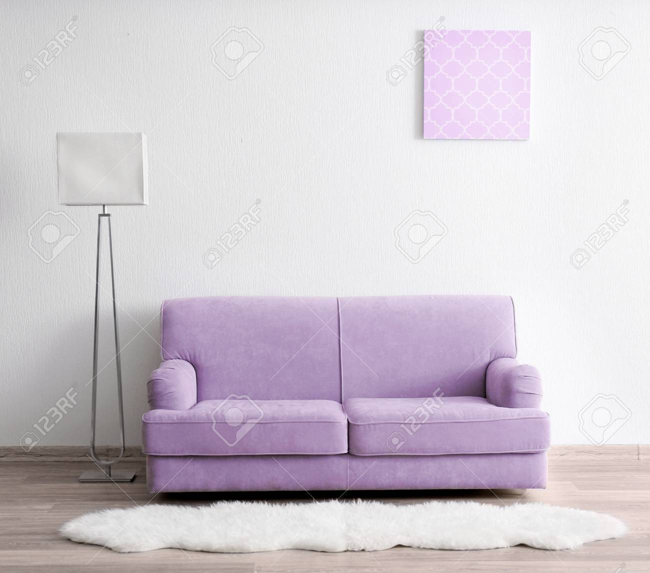 Couch Lila Lilac Color Accent In Modern Interior. Comfortable Couch And.. Stock Photo, Picture And Royalty Free Image. Image 91533479.