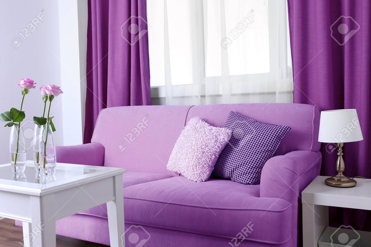 Couch Lila Lilac Color Accent In Modern Interior. Comfortable Couch And.. Stock Photo, Picture And Royalty Free Image. Image 91545289.