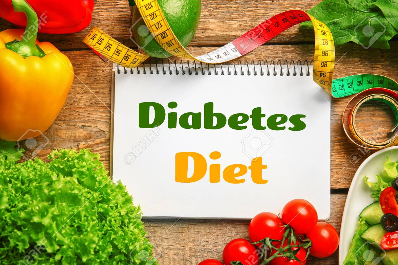 Diabetes Nutrition Notebook With Text Diabetes Diet And Healthy Food On Wooden Background