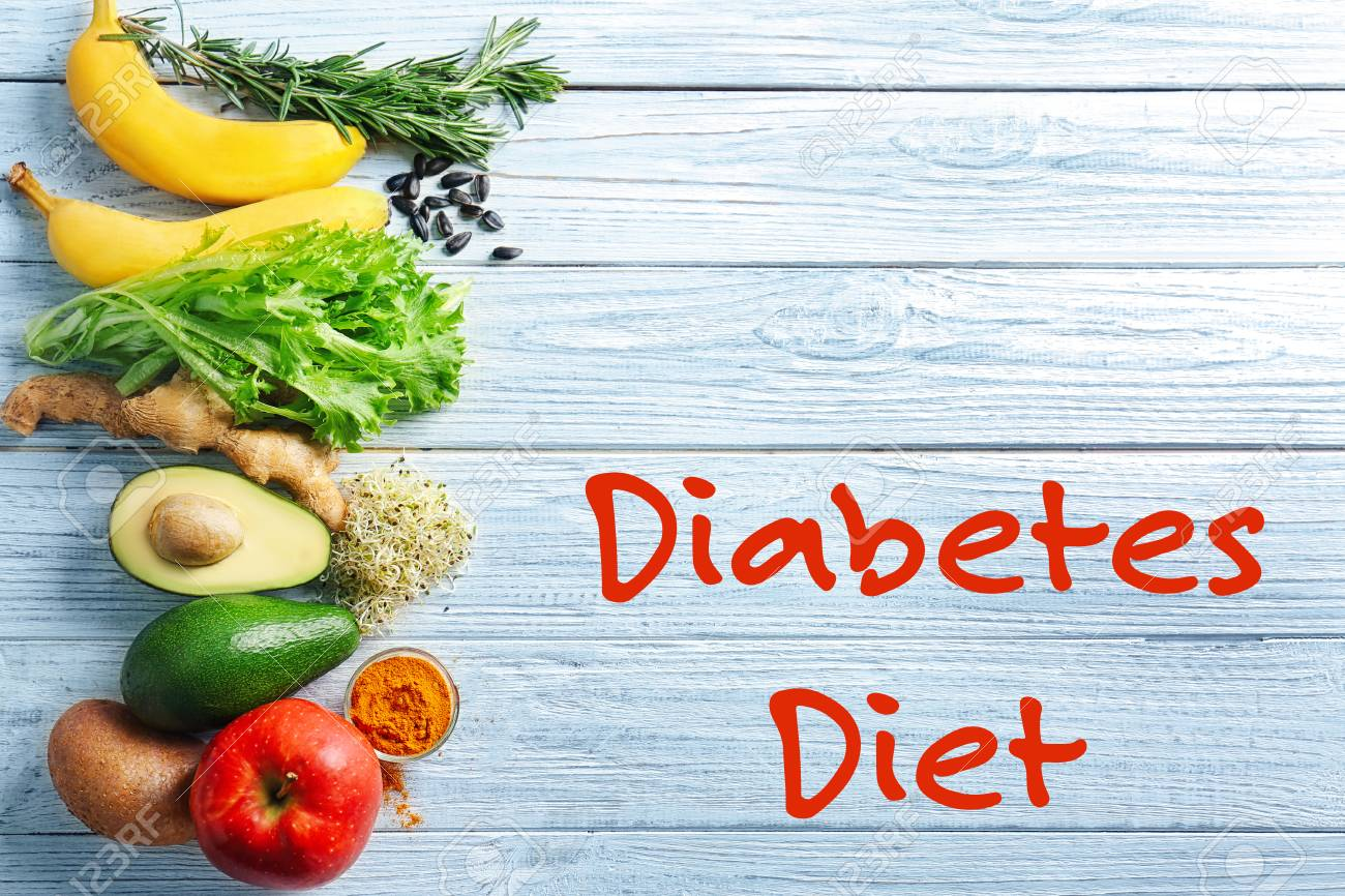 Diabetes Nutrition Text Diabetes Diet And Healthy Food On Wooden Background Health