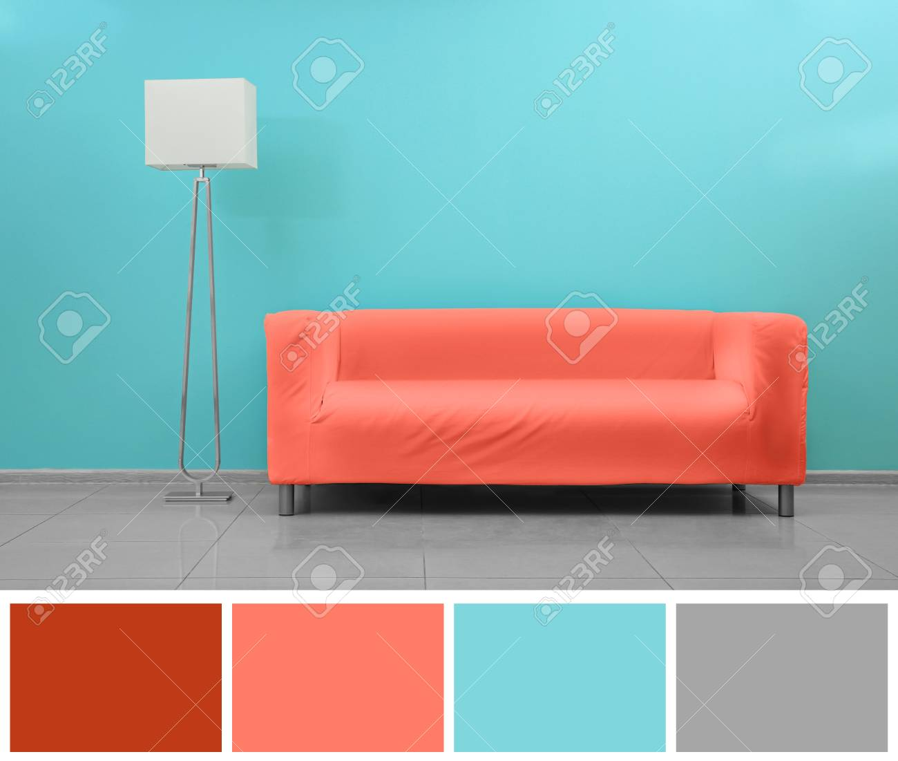 Sofa Palette Palette With Salmon Color And Modern Sofa In Empty Room
