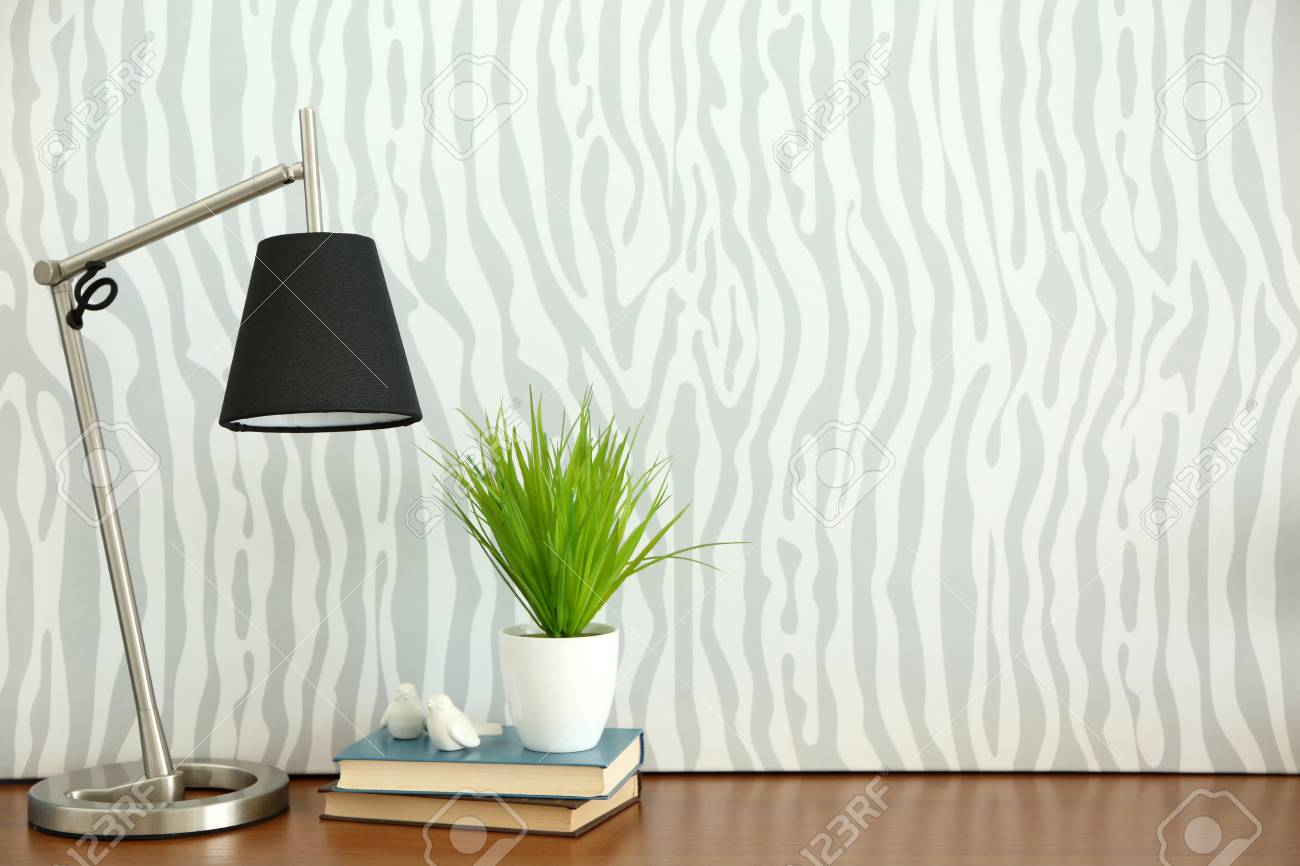 Lamp Plant Design Interior With Lamp And Plant On Wallpaper Background