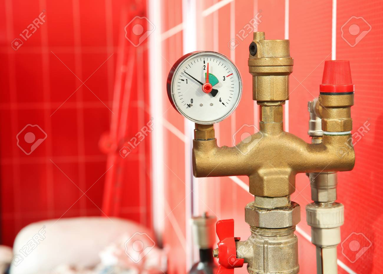 Closein Boiler Part Of Solid Fuel Boiler With Pressure Gauge Close Up