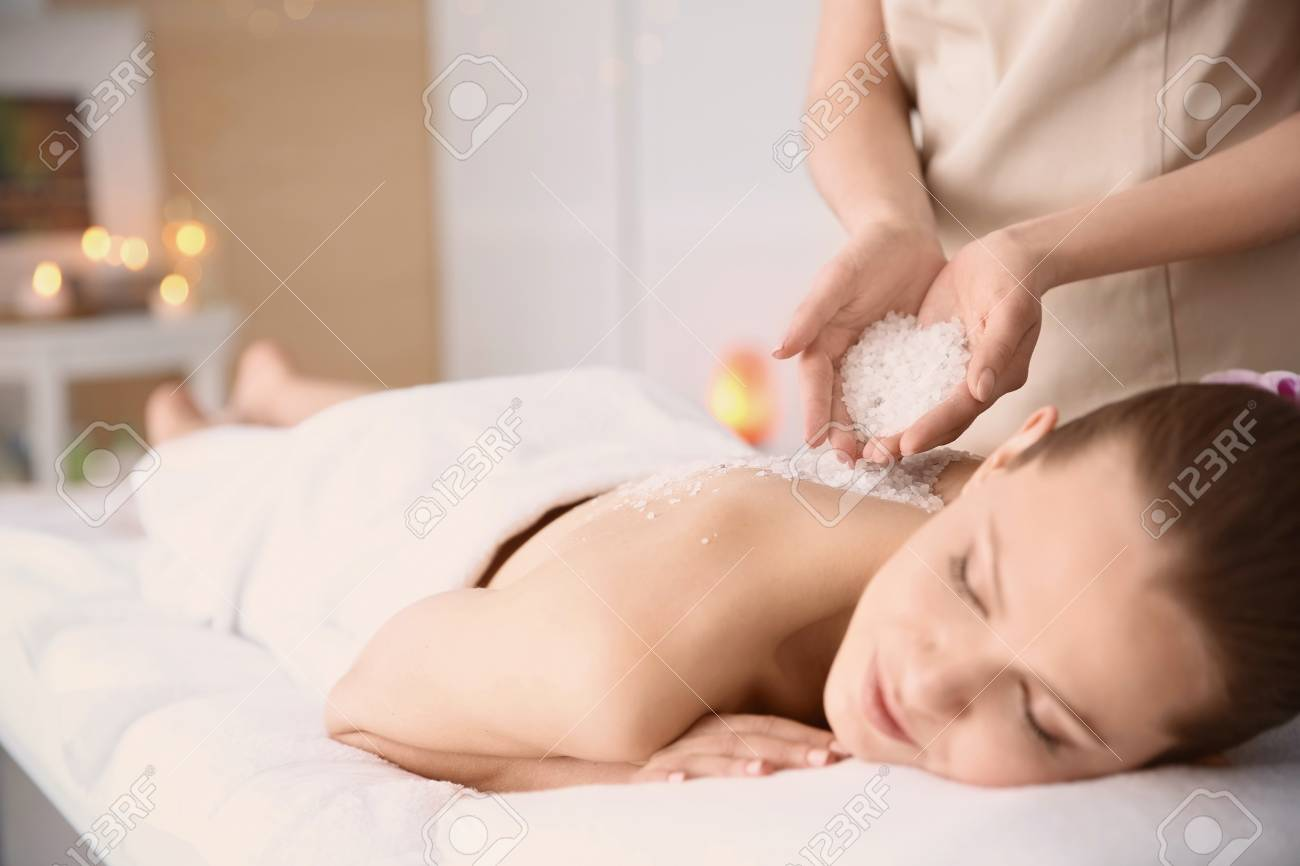 Salon Massage Body Body Beautiful Young Woman Having Massage With Body Scrub In Spa Salon