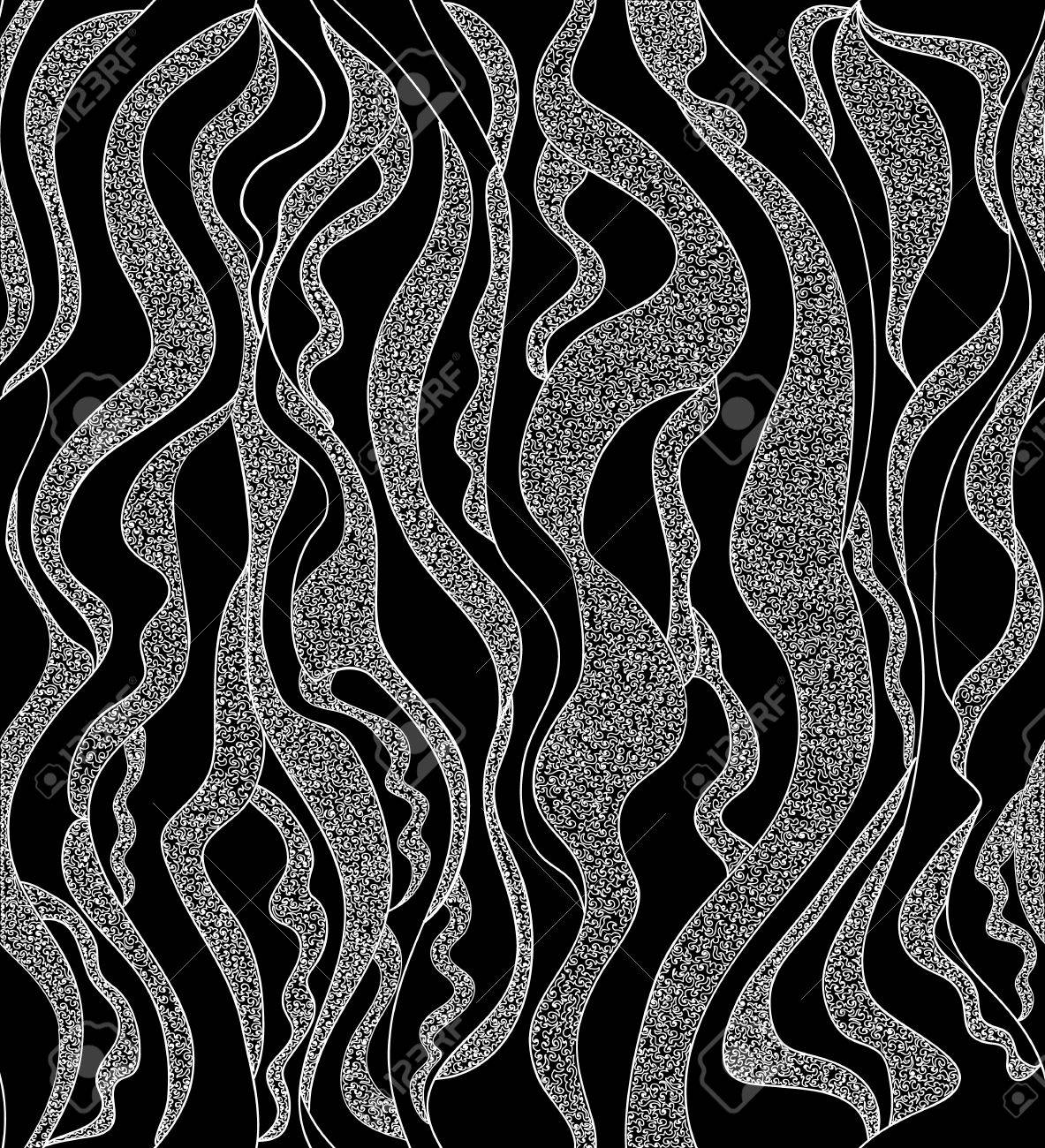 Beautiful black and white seamless pattern with vertical curling lines stock vector 21600000
