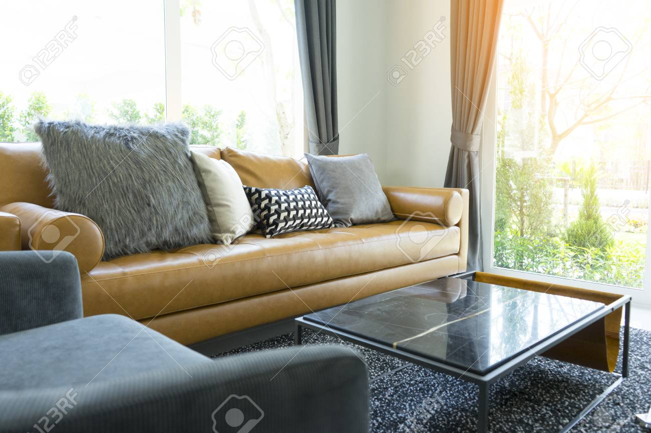 Luxury Cushion On Brown Leather Sofa In Modern Living Room Stock Photo Picture And Royalty Free Image Image 112659888