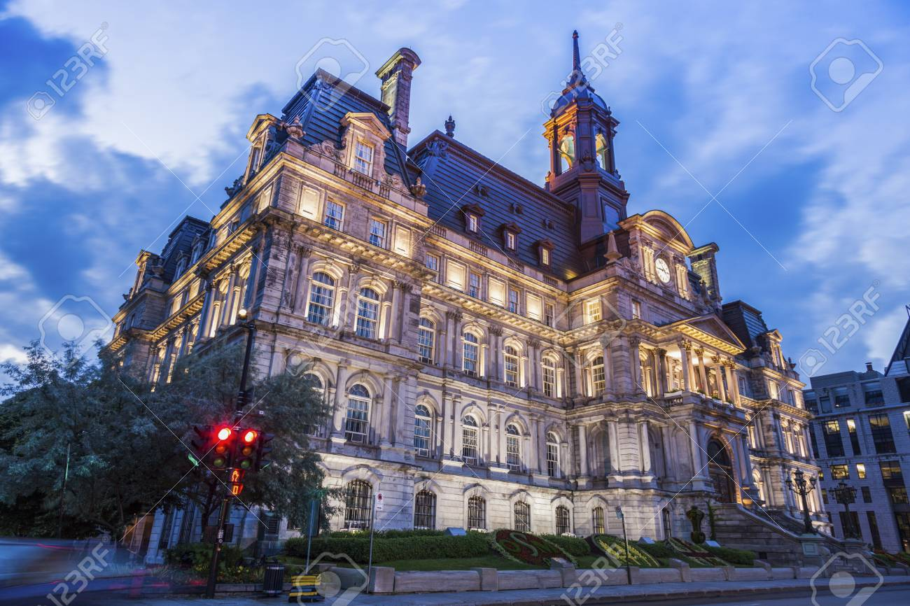 Quebec Montreal Montreal City Hall At Night Montreal Quebec Canada