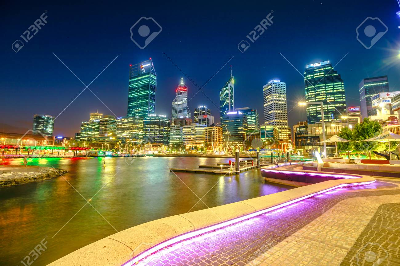 Lighting Stores Perth Wa Perth Australia Jan 5 2018 Walkway With Night Lighting At
