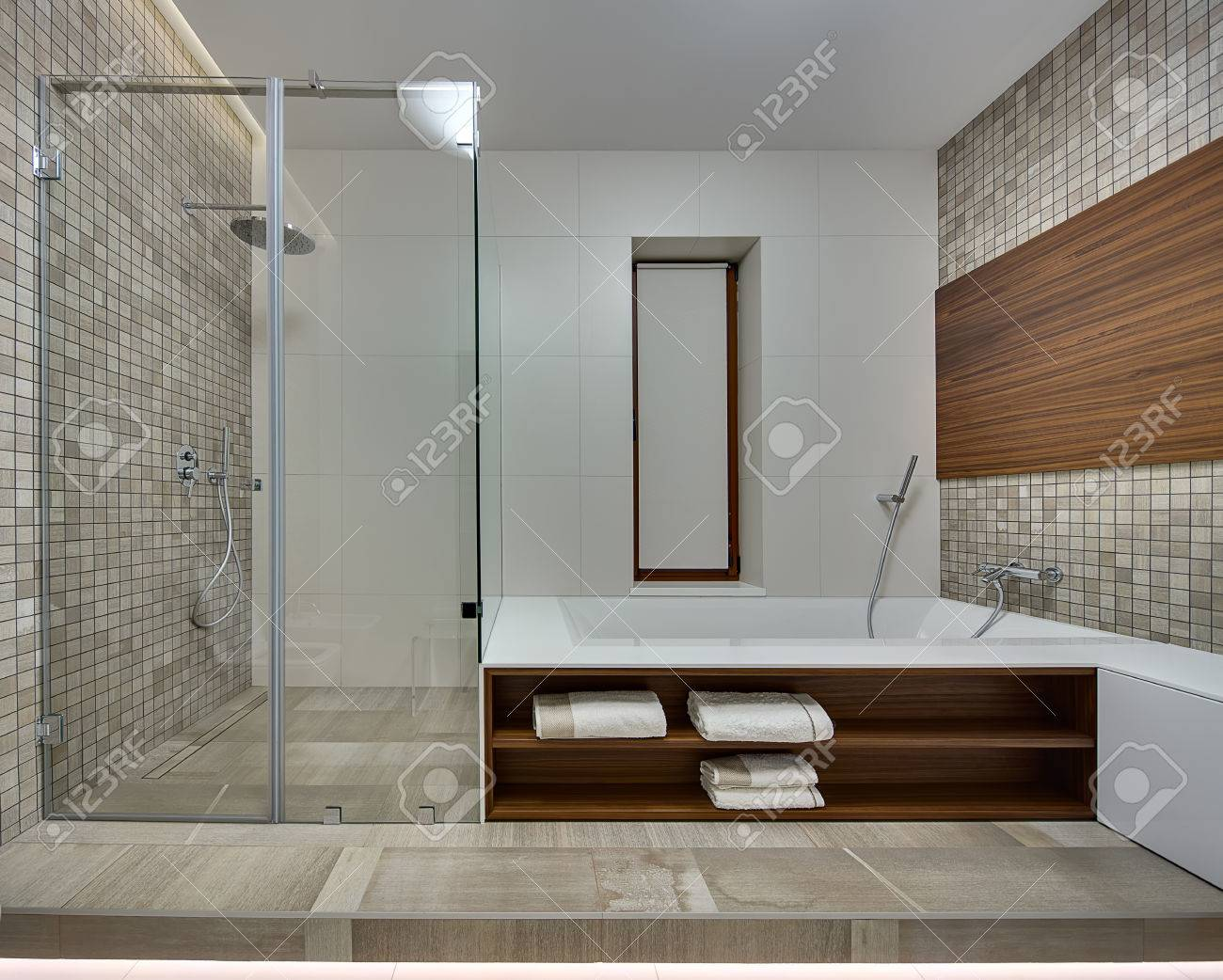 Badezimmer Beige Mosaik Stock Photo