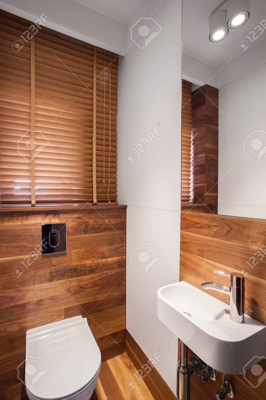 Design Badezimmer Holz Stock Photo