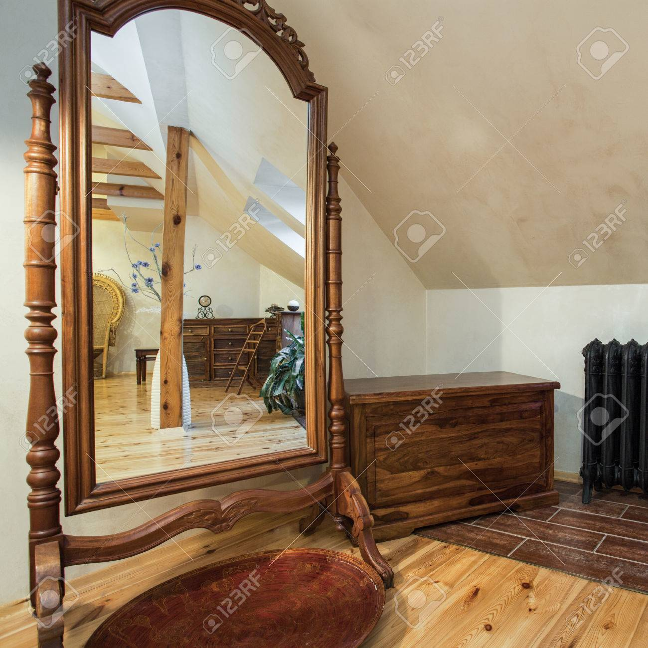 Huge Mirror Cloudy Home Old Fashioned Furniture A Huge Mirror