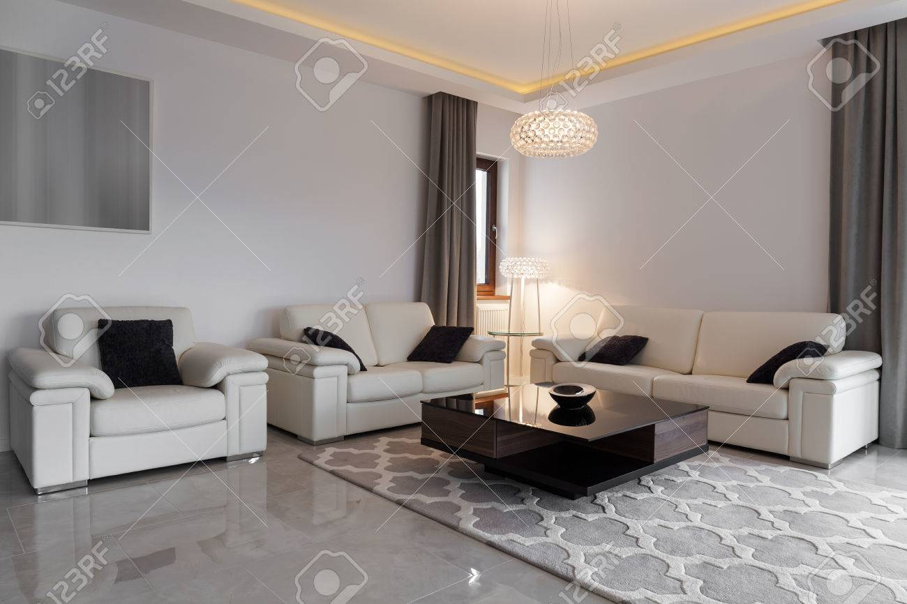 Modern Lounge White Leather Furniture In Elegant Modern Lounge