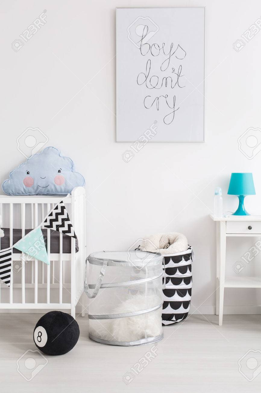Babies Room Accessories Shot Of A Black And White Baby Room With Blue Accessories