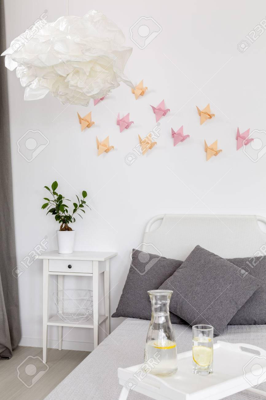 3d Wall Decor Light Bedroom With Creative Origami Pendant Lamp And 3d Wall