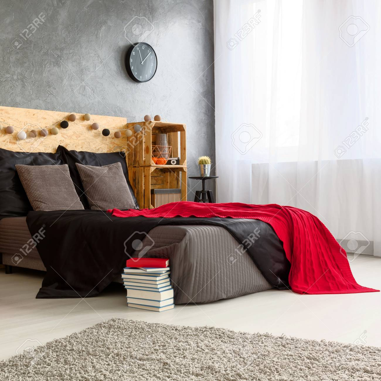 Schlafzimmer Design Rot Stock Photo