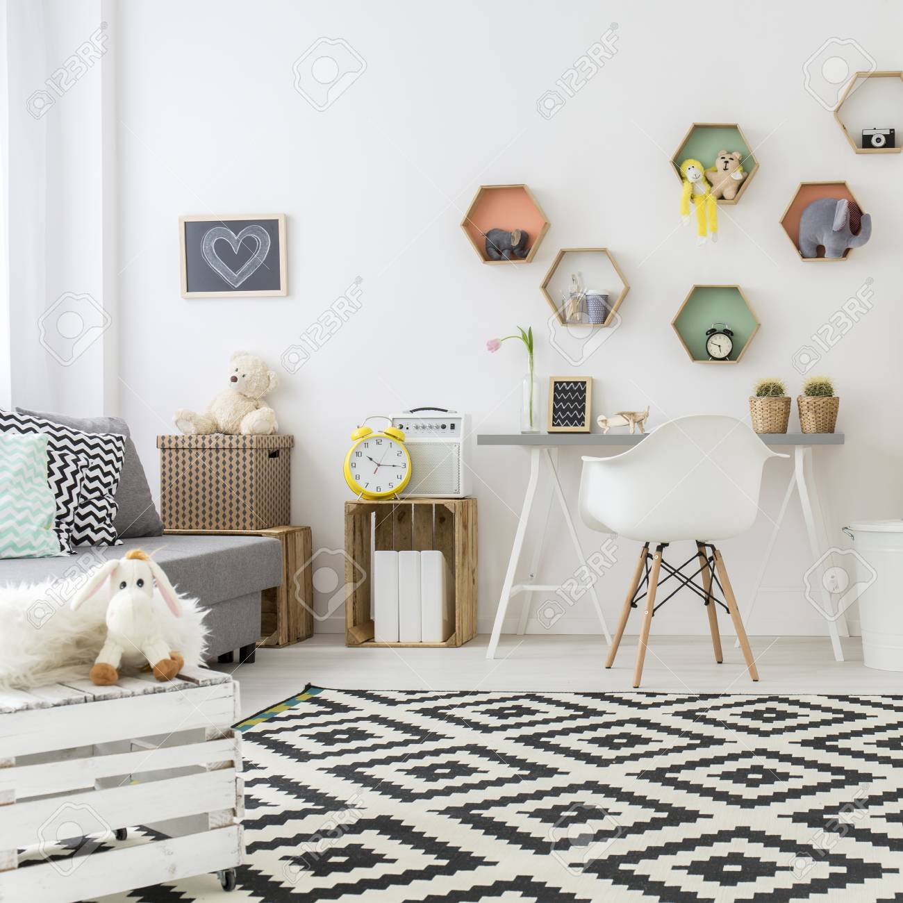 Kinderzimmer Mit Teppichboden Stock Photo