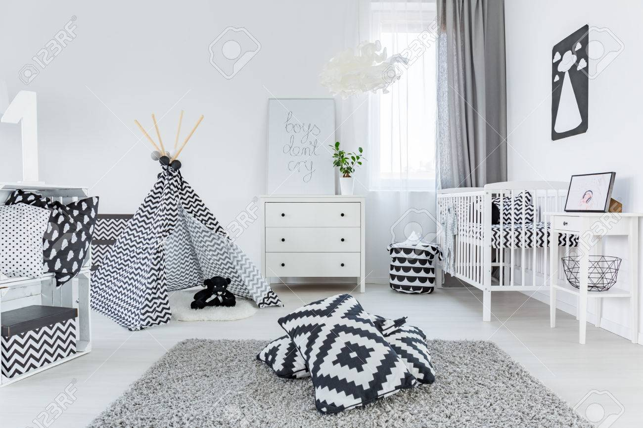 Outdoor Teppich Scandinavian Design Child Room In Scandinavian Style With Carpet Cot And Dresser