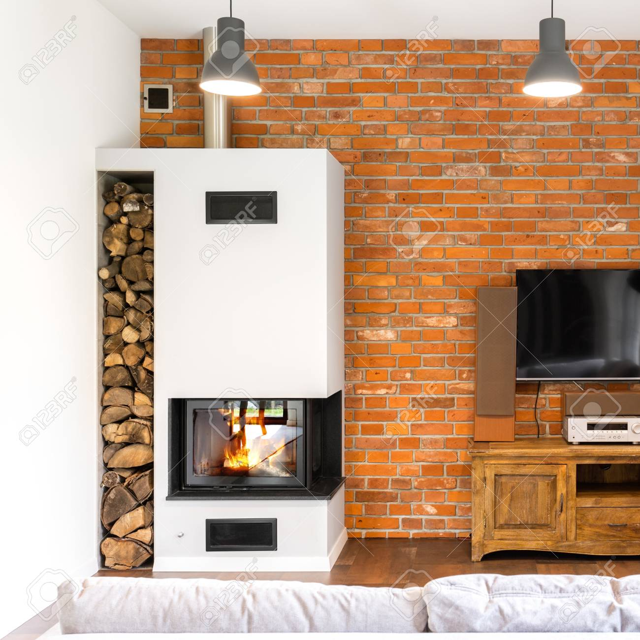 Modern Fireplace Images Brick Wall Living Room With Modern Fireplace Vintage Wooden