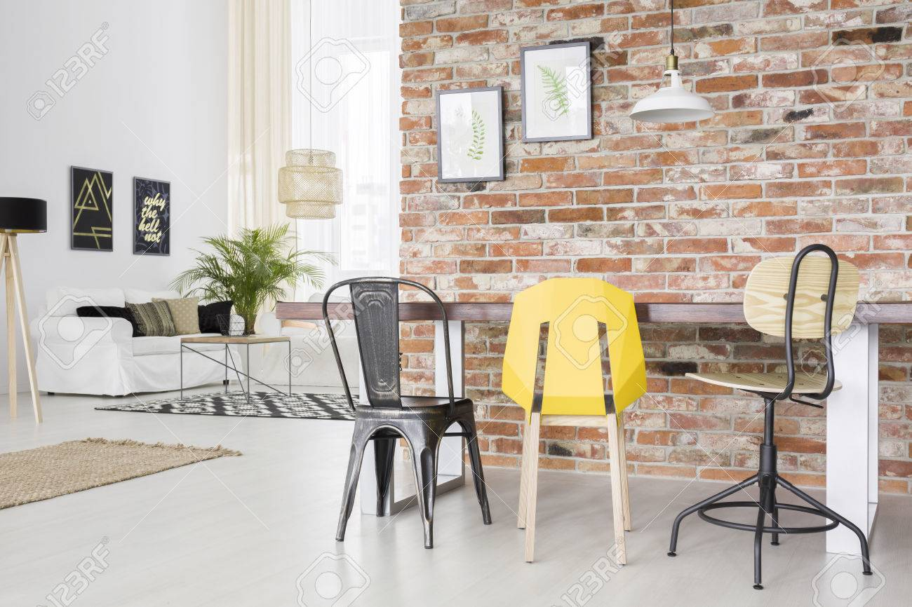 Modern Dining Table Chairs Modern Apartment With Brick Wall Dining Table Chair And Sofa