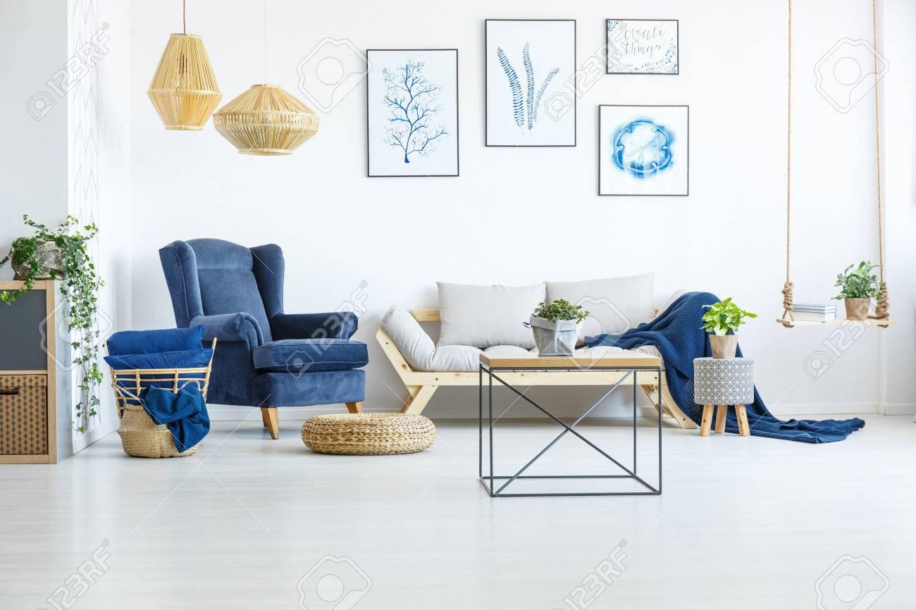Salon Avec Fauteuils Bleus | Décoratif Chaise Jardin Couleur Avec ...