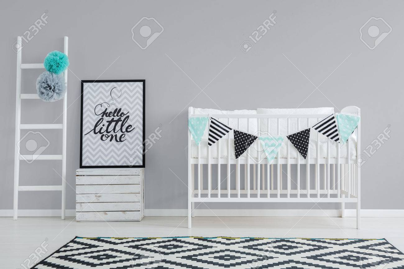 Babyzimmer Möbel Weiß Stock Photo