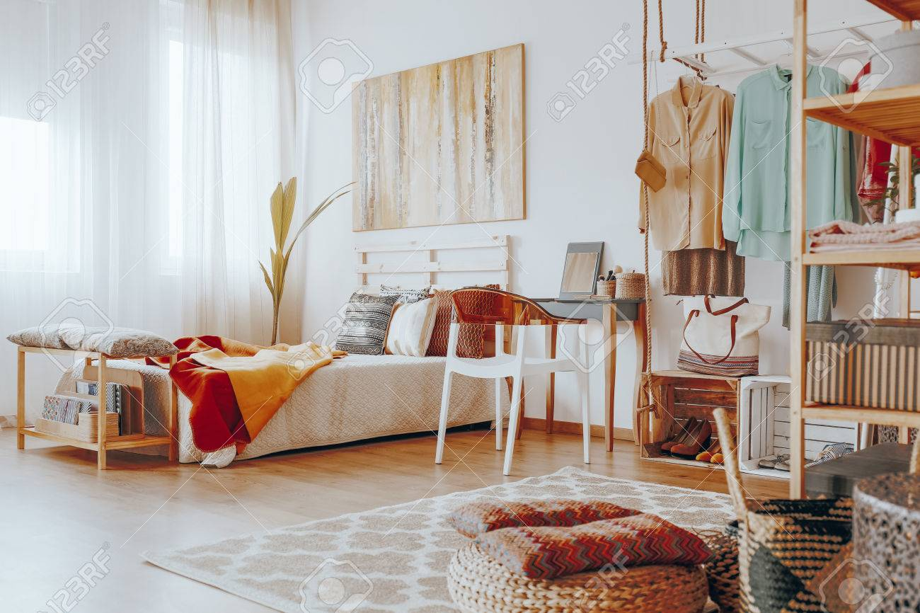 Boho Bedroom Bright Stylish Boho Bedroom With Big Modern Painting On The Wall