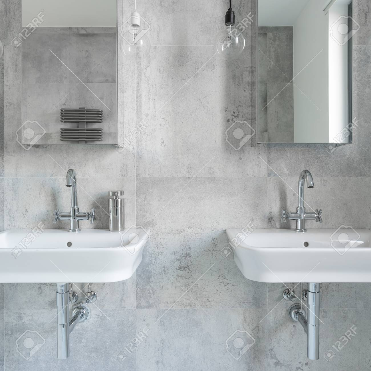 Bathroom With Mirrors Modern Bathroom With Concrete Minimalist Walls Two Sinks And
