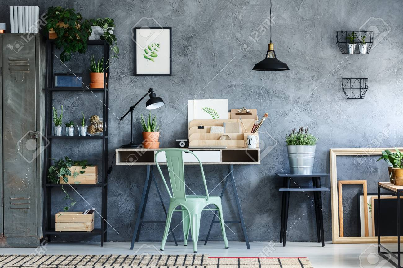 Industrial Vintage Loft Office With Industrial Vintage Decor Of Desk Space