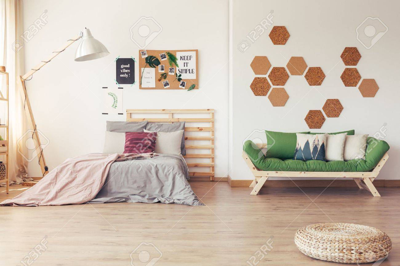 Scandinavian Furniture Bed Green Accents In Simple Scandinavian Interior With Wooden Furniture