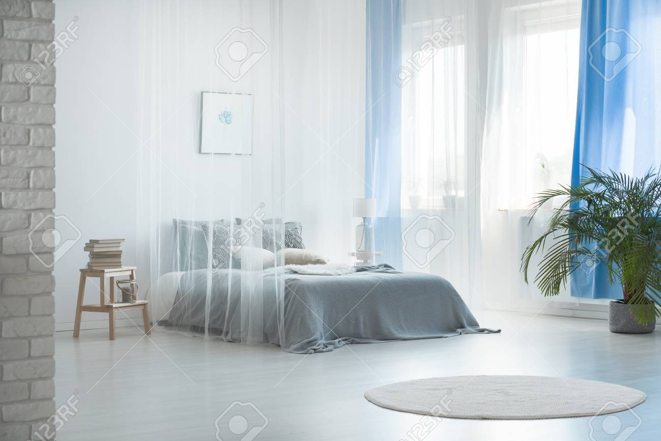 Curtains For A Blue Room Cozy Romantic Interior Design Of Spacious Pale Blue Bedroom With