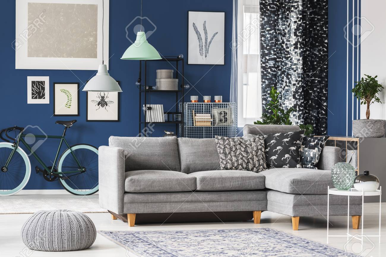 Living Room With Grey Sofa Big Living Room With Blue Walls Grey Sofa And Plenty Of Fashionable