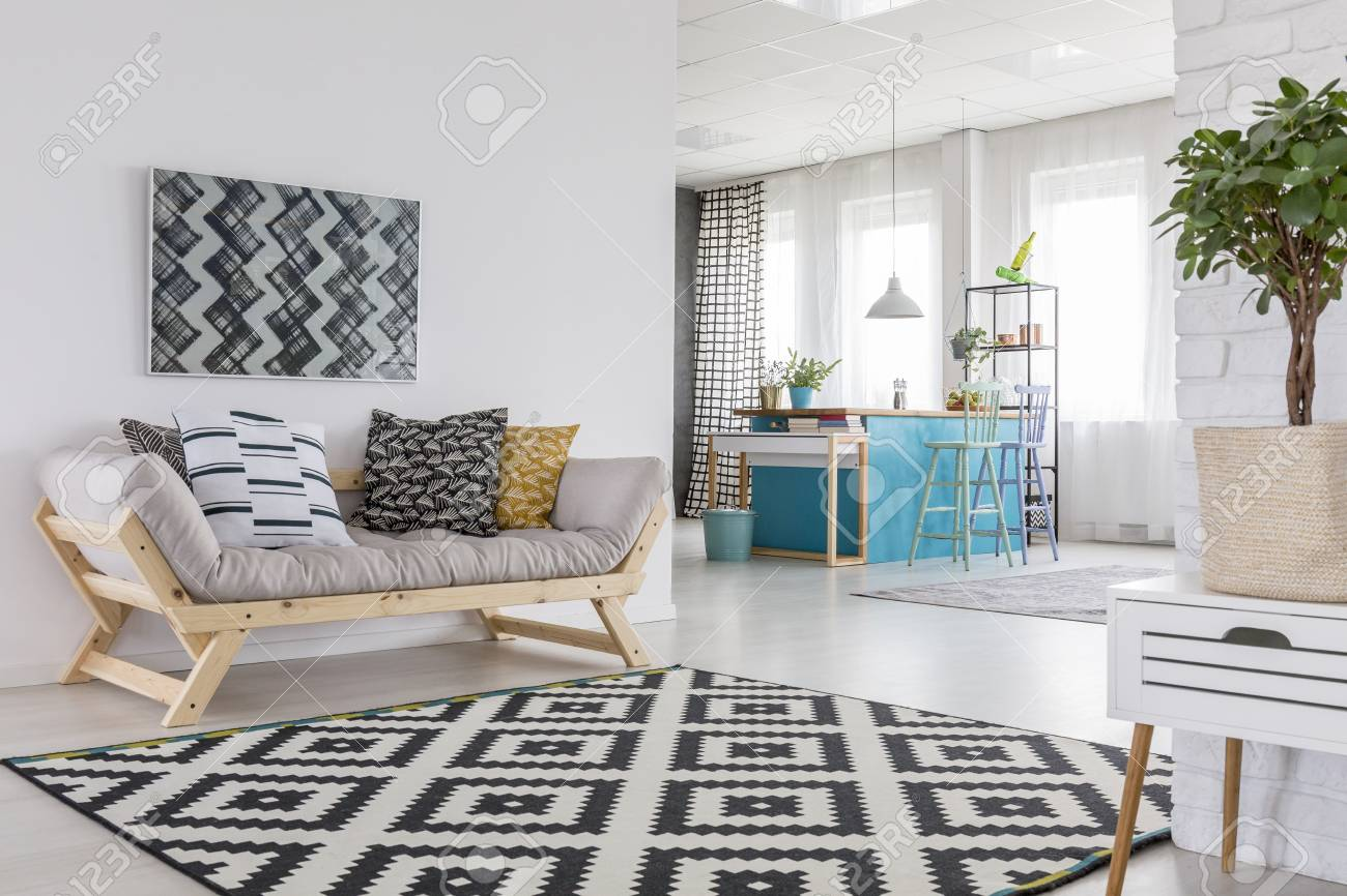 Patterned Carpet Patterned Carpet In Living Room Interior With Wooden Sofa Plant