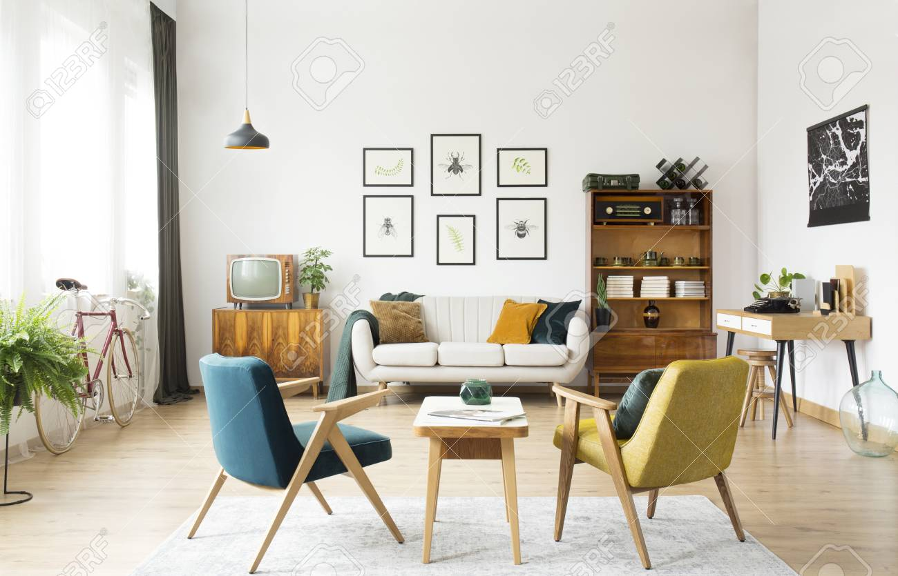 Retro Sofa Wood Yellow And Green Armchairs And Wooden Table In Retro Room With
