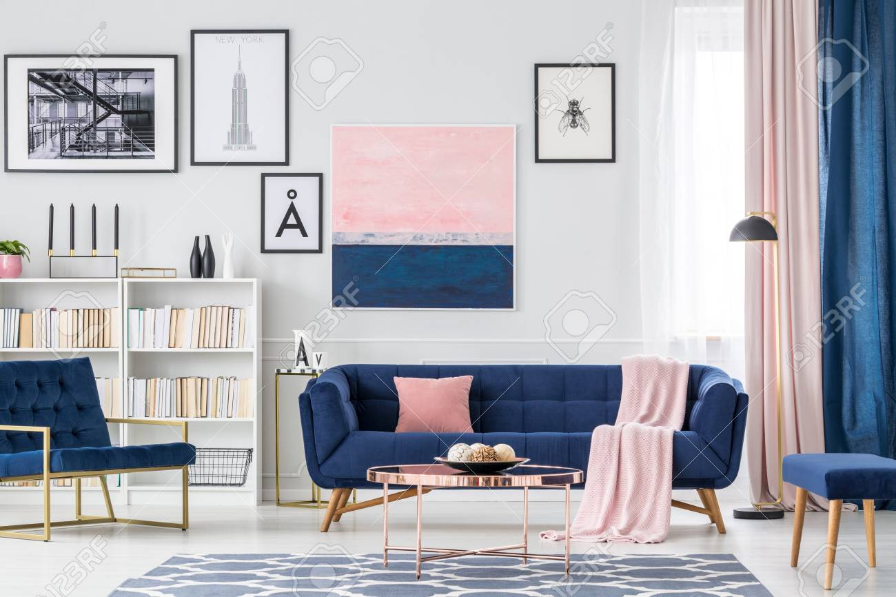 Pink Living Room Curtains White Blue And Pink Living Room Interior With Couch Paintings