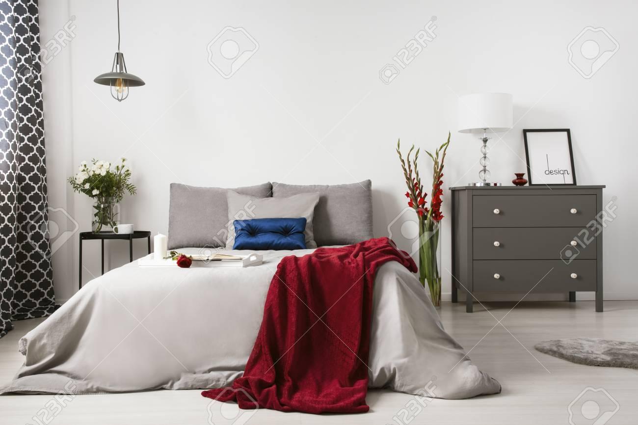 Commode Rose Real Photo Of A Romantic Bedroom Interior With A Big Bed Red